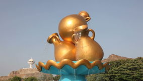 Water jug statue in Muscat, Oman. Water jug statue in a roundabout in Muscat, Kingdom of Oman, Middle East stock video footage