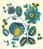 Water-kleur Russisch bloempatroon Stock Afbeeldingen
