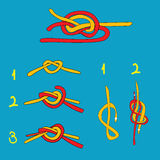 Water knot, figure eight knot, overhand knot Royalty Free Stock Images