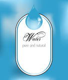 Water label with drop Royalty Free Stock Photography