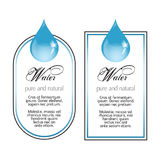 Water labels with drop on white Stock Photography