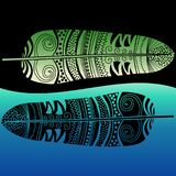 Water Lake Ethnic Feathers. A pair of ethnic feathers on nature in a water lake and resting on the shore Royalty Free Stock Photography