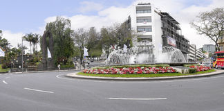 Water, lake, fountains,white,chapel, Traffic Island by Santa Catarina Park in Funchal Madeira Stock Images
