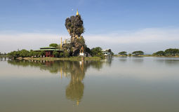 Water Lake Monastry. Hpa An village and monastry, Myanmar Royalty Free Stock Photo