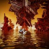 Water landing astronaut. 3D illustration of astronaut in landing capsule on alien water world Stock Photos
