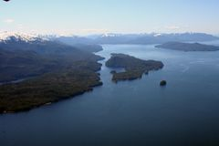 Water landscape. With blue skies from a plane in Ketchikan Alaska Royalty Free Stock Photography