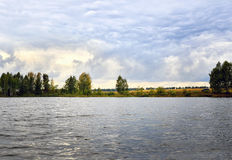 Water landscape with clouds and rippling water. Water landscape with clouds and ripples in the water of the lake stock image