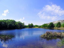 Water landscape. The River Ilovlya. The beauty of the Volgograd region Stock Images
