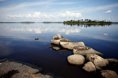 Water landscape with stones. Royalty Free Stock Photography