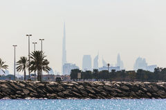 Water landscape with  views of Dubai cityline Royalty Free Stock Photography