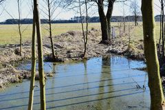 Water lanscape. Walk around water , country on Sunday Stock Photo