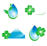 Water and leaf design elements Stock Photos