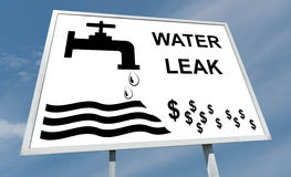 Water leak concept on a billboard Stock Photography