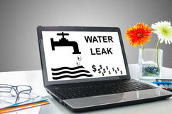 Water leak concept on a laptop screen Stock Images