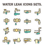 Water leak icon. Burst pipe and water leak vector icon set design Royalty Free Stock Photography
