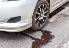 Water leaking from car radiator royalty free stock image