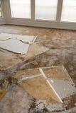 Water leaking damaged plasterboard and carpet. Home Interior Water leaking damaged plasterboard and carpet Stock Photos