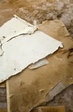 Water leaking damaged plasterboard and carpet Stock Images