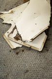 Water leaking damaged plasterboard and carpet royalty free stock photography