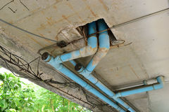 Water leaks. On the ceiling causing damage, tiles and cement Royalty Free Stock Image