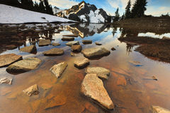 Water legends. Mountain and water with beautiful rocks Stock Photo