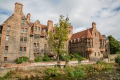 The water of leith walk and houses in Edinburgh Royalty Free Stock Photography