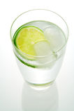 Water and Lemon. A glass of fresh water with a slice of lemon and ice cubes Stock Images