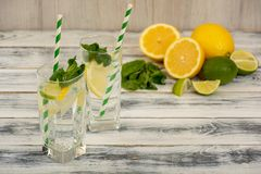 Water with lemon and ice Stock Image