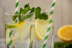 Water with lemon and ice Royalty Free Stock Photo