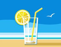 Water with lemon, a refreshing drink, sea, summer, colour illustrations. A glass of water, lemon and straw. A refreshing drink in the summer heat. Beach, blue Stock Photo