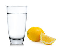 Water with lemon on white background Royalty Free Stock Photography