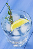 Water with lemons and ice cubes Royalty Free Stock Photo