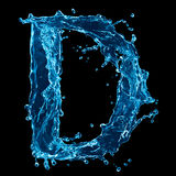 Water Letter D on Black Royalty Free Stock Photo