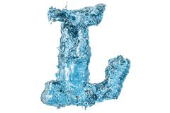 Water letter L, 3D rendering. Isolated on white background Stock Images