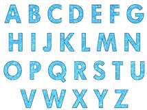 Water letters. Letters of the alphabet made of water background Royalty Free Stock Photos