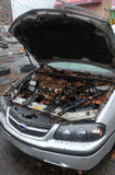 Water level and debris at cars. BROOKLYN, NY - OCTOBER 29: Debris litters inside cars in the Sheapsheadbay neighborhood due to flooding from Hurricane Sandy in Stock Image