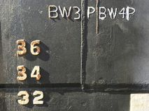 Water level depth gauge number markings on an old black ship hull fragment. Stock photo stock photo