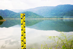 Water level gauge. The water level gauge installed at reservoir area in Thailand stock photography
