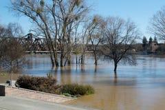 Water level at the I Street Bridge Royalty Free Stock Photos