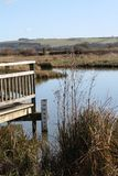 Water level indicator at the edge of a lake. A water level indicator at the edge of a lake with a view of the downs in the background Stock Photo