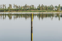 Water level indicator at the waterway or swamp. Stock Photo