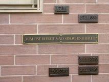 Water level markings at the Eiserner Steg in Frankfurt am Main Royalty Free Stock Photos