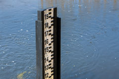 Water level measurement during flood. Stock Image