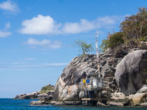 Water level measurement station. Seaside on the island Royalty Free Stock Images