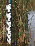 Water level meter after low rainfall. Water level meter showing low levels after a period of drought royalty free stock photos