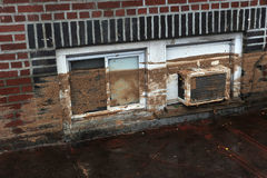 Water level and mud at buildings. BROOKLYN, NY - OCTOBER 29: Water level and mud at buildings in the Sheepsheadbay neighborhood due to flooding from Hurricane Royalty Free Stock Photos