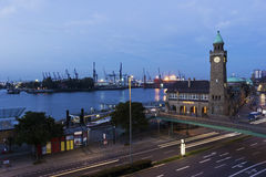 Water level tower on St Pauli Piers in Hamburg in Germany Royalty Free Stock Photos