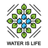 Water is life abstract concept design with leaf and drop. Water is life abstract concept design with green plant leaf and blue water drop. Vector illustration Stock Photos