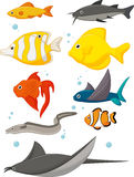 Water Life Cartoon Set Royalty Free Stock Images