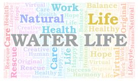 Water Life word cloud. Wordcloud made with text only vector illustration
